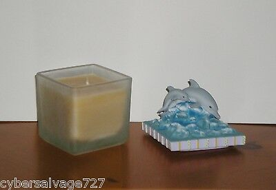 "Candle In Frosted Glass Jar With Dolphin Resin Top 3"" x 3"" Dolphins in Waves"