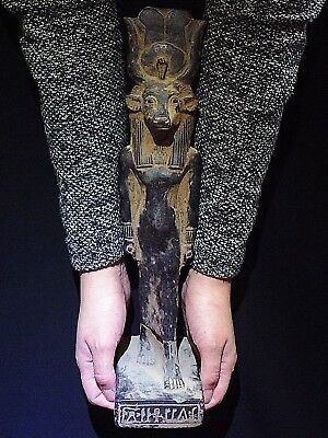 ANCIENT EGYPT EGYPTIAN ANTIQUE Hathor as a Woman Cow Headed Statue 1570-1070 BC