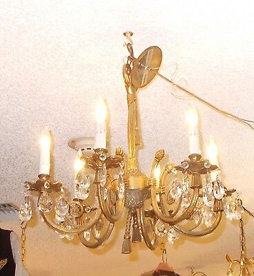 Art Deco Brass 6 Arm Chandelier: Nashville Estate Architect. Salvage