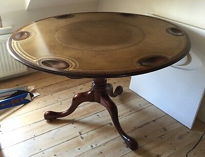 Fine Quality Reproduction Mahogany Card Table, Circular, Leather Top, Seats Six