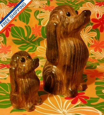 MINT VTG Pair of 2 FINE PORCELAIN DOGS Made in JAPAN ■SWIRLED AGED WOOD LOOK■