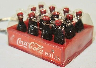 Vintage Miniature 12 Pack Case Coca Cola Bottle Key Chain or use in Dollhouse