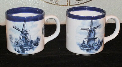 2 Blue Delft Egg Cup Handpainted Holland