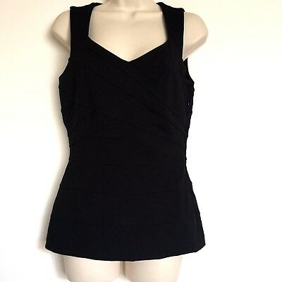 White House Black Market WHBM Black V-Neck Sleeveless Top Criss Cross Pattern  6