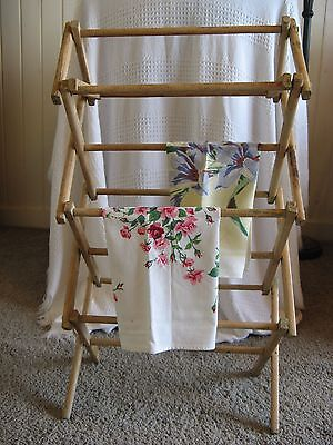 Vintage Painted Shabby Chic Tea Towel Drying Rack - Miniature Size! 27x7.5x15