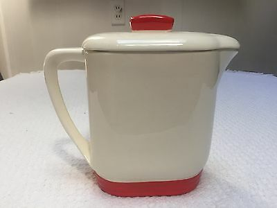 Vintage Knowles Utility Ware Large Red Trim Batter Pitcher