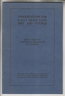 1915 Booklet - Specifications For Cast Iron Soil Pipe And Fittings