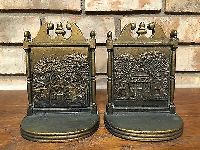 Rare Pair Antique 1920S Bradley & Hubbard Cast Iron Bookends Longfellow's Home