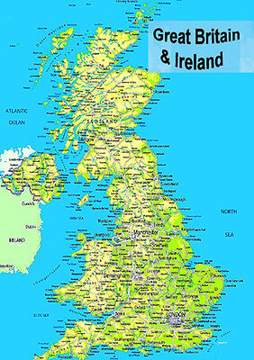 laminated MAP OF GREAT BRITAIN UK ENGLAND SCOTLAND WALES & N IRELAND POSTER
