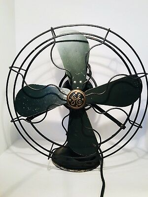 "Antique 1920's Fan GE Oscillating 16"" AOU AK1 75425 Loop Handle Industrial WORKS"
