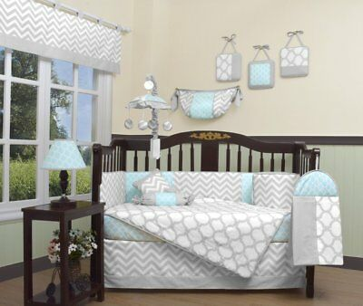 Blue Gray Chevron 13 pcs Crib Bedding Set Baby Boy Nursery Quilt Bumper Diaper