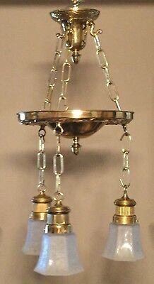 Antique Vintage Ornate Brass Pan Hanging Light Chandelier with 3 shades