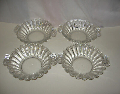 4 Antique Vintage Heisey Glass Bowls Fruit Berry Bowls Ribbed & Handled