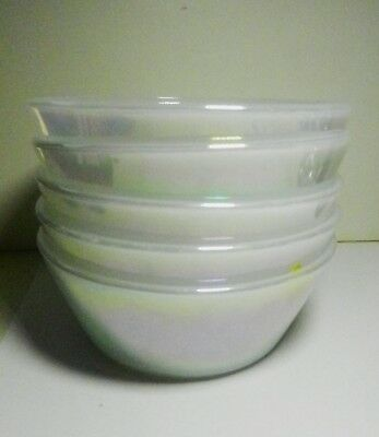 """Set of  5-Federal Glass White Pearl Iridescent Heat Proof 5"""" Cereal Bowls -"""