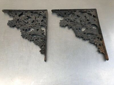 2 Matching Vintage Antique Cast Iron Metal Foral Decorative Shelf Brackets Nice