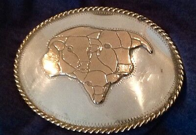 Vintage Silver Texas Longhorns Signed Belt Buckle--Bull Lone Star Cattle Cowboy