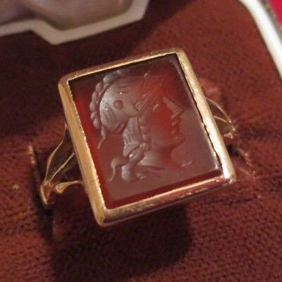 Gold 18Ct Roman Byzantine Soldier Carnelian Seal Ring 9Ct Antique Vintage N 1/2
