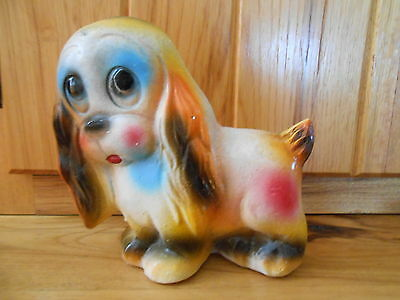 "Vintage Chalkware Puppy Dog ""VERY COLORFUL"" CAN STAND OR HANG ON WALL 5 1/2""X6"""