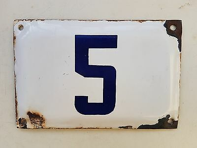 vintage  ISRAELI  enamel porcelain number 5  house sign # 5