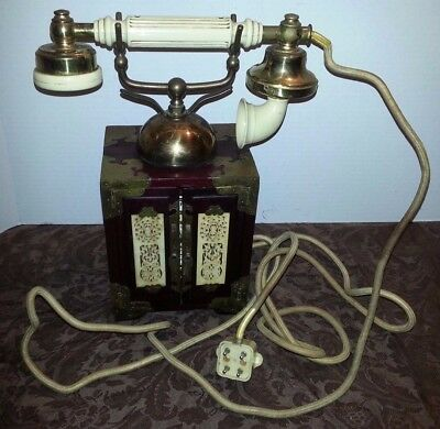 VTG 50s ANTIQUE WOOD BRASS HOLLYWOOD REGENCY ASIAN ORIGINAL FRENCH ROTARY PHONE