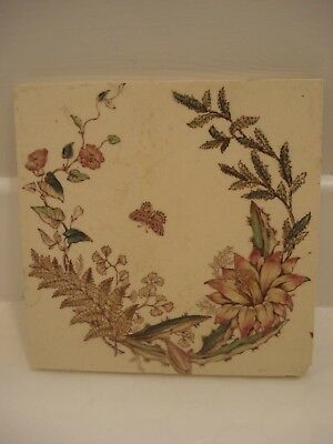 Vintage/ Antique -Transfer Print Floral Victorian Fireplace Tile -
