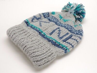 c04413535bf American Eagle Slouchy Fit New York Beanie Knit Hat Grey Blue New! NWT