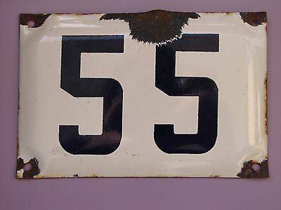 vintage ISRAELI  enamel porcelain number 55  house sign # 55