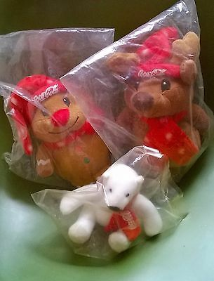 3 Coca Cola Plush Animals (Brown Bear, Gingerbread Man, and Polar Bear) New