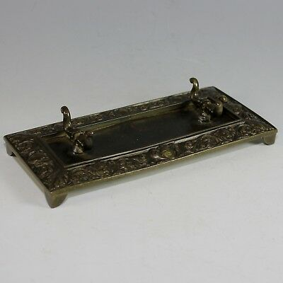 French Antique Bronze Desk Set Pen Tray Grotesques