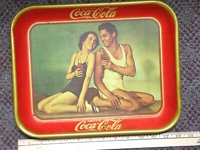 1934 Drink Coca-Cola Tray Maureen O'Sullivan/Johnny Weismuller 1970's ReIssue