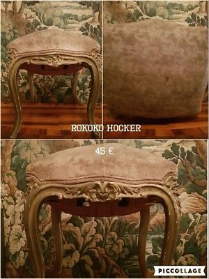 Rokoko Hocker vergoldet shabby chic