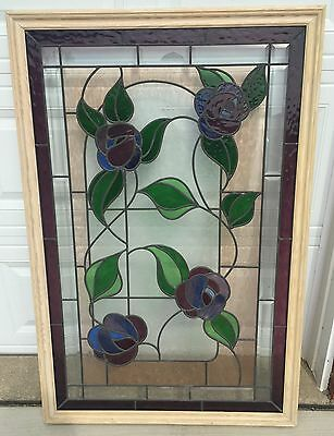 Vintage! STAINED GLASS Panel With FLOWERS Beautiful Home Decor FRAMED 35x50.5