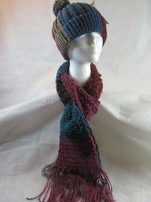 Hand Crochet Dark Muted Hat and Scarf set-- FREE SHIPPING
