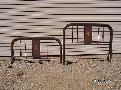 Antique/vintage Full Size Metal Tube Bed Headboard, Footboard & Rails
