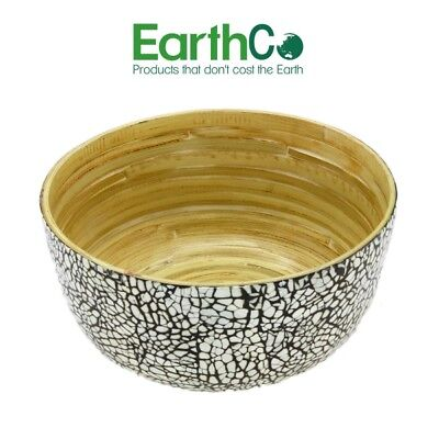 EarthCo - Bamboo Salad / Fruit Bowl (Outer Egg Shell Pattern / Natural Inner)
