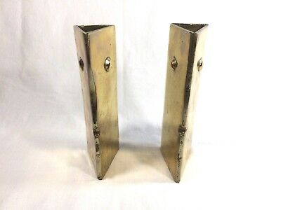 "Pair Vintage Rustic Solid Brass Triangle Shape Bookends 7 3/4"" Inch Heavy"