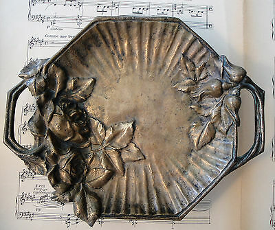Large Antique French Art Nouveau Bronze Tray Roses Hazelnut c1900