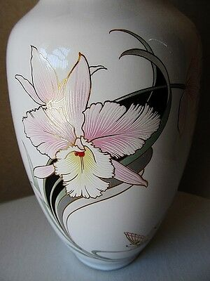 Vintage Japanese Porcelain Vase, Approx. 11-3/4 Inches Tall On A Wood Stand