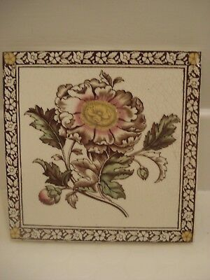 Vintage/ Victorian/ Antique/ Period-Transfer Floral Print Fireplace Tile