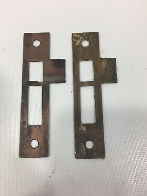 "Antique Metal 4 1/4 "" Door Jamb Mortise Lock Strike Plate Keeper Catch Vintage"