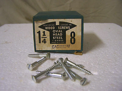 "#8  x 1 1/4"" Oval Head Wood Screws Cadmium Plated Slotted Made in USA - Qty.144"