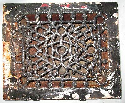 "Antique Vintage Ornate Cast Iron Heat Louvered Register Grate Vent 11.75"" X 9.75"