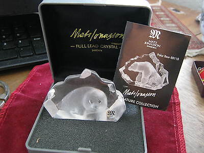 NIB Mats Jonasson BABY SEAL Crystal Paperweight, #88100, compare at $150.00 LQQK
