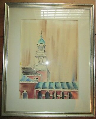 Vintage Wood Framed & Matted Architecture Original Watercolor Painting