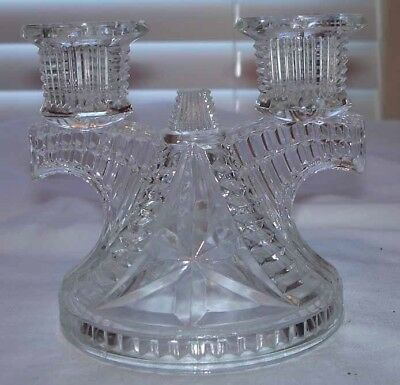 Vintage Clear Pressed Glass Double Candlestick Holder
