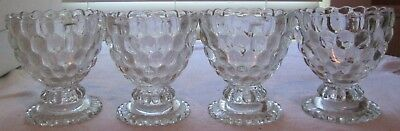 Vintage Lot Of 4 Avon Clear Glass Bubble Ovalique Candle Holders