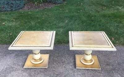 Vtg Italian Hollywood Regency Side Gold Gilt Wood End Tables Pair