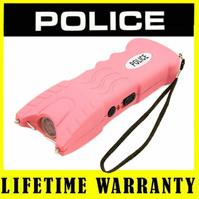 POLICE Stun Gun Pink 916 58 Billion Rechargeable With LED Flashlight Safety Pin