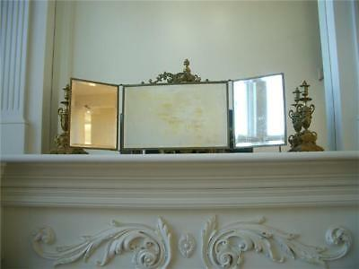 Antique Vtg VICTORIAN BRASS TRIFOLD BOUDOIR VANITY MANTLE WALL MIRROR *CHERUBS