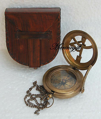 "Vintage Nautical Sundial Compass Push Button 3"" Solid Brass West London Replica"